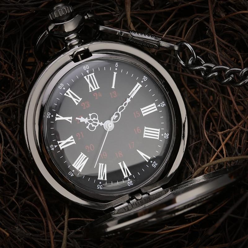 Crni rimski brojevi kvarcni džepni sat muškarci žene crna šuplja - Pocket satovi - Foto 2