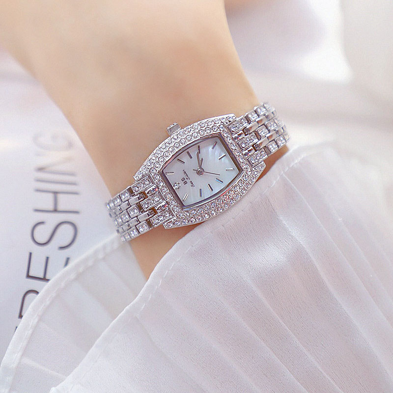 Gold Silver Women Watch Famous Luxury Brands Crystal Diamond Watch Fashion Ladies Quartz Wrist Watch Bracelet Gift Relogio enlarge