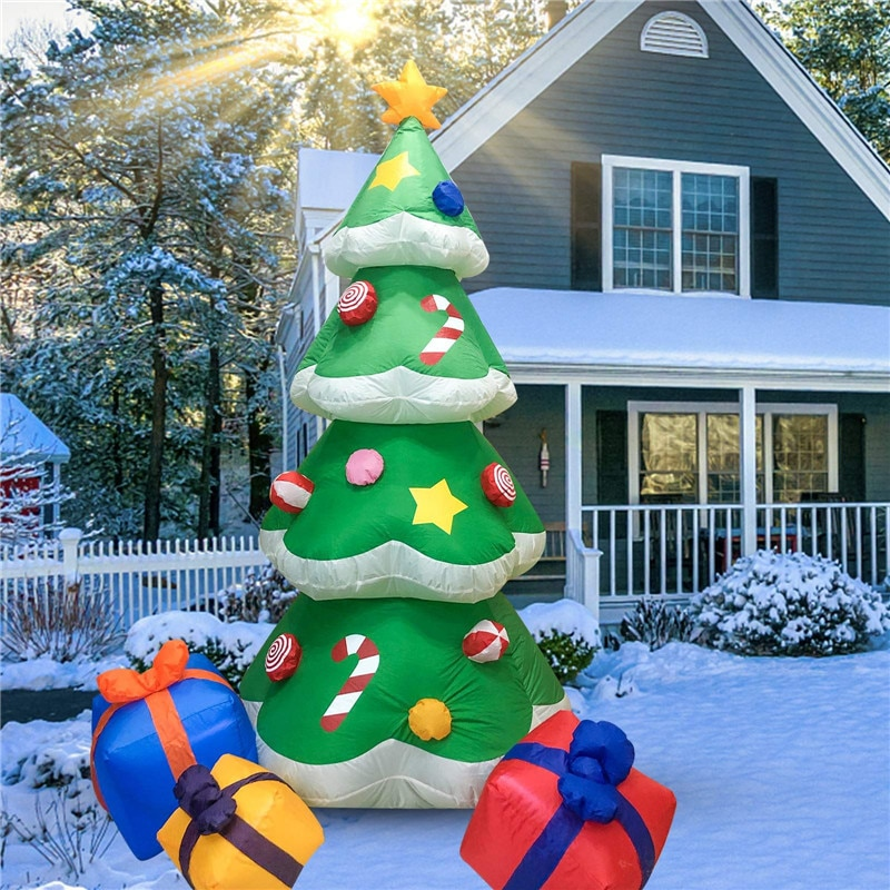 2.1M Glow Christmas Tree Christmas Inflatable Model Christmas Utenciles Christmas Candy Cane Gift Package Tree Holiday Lighting