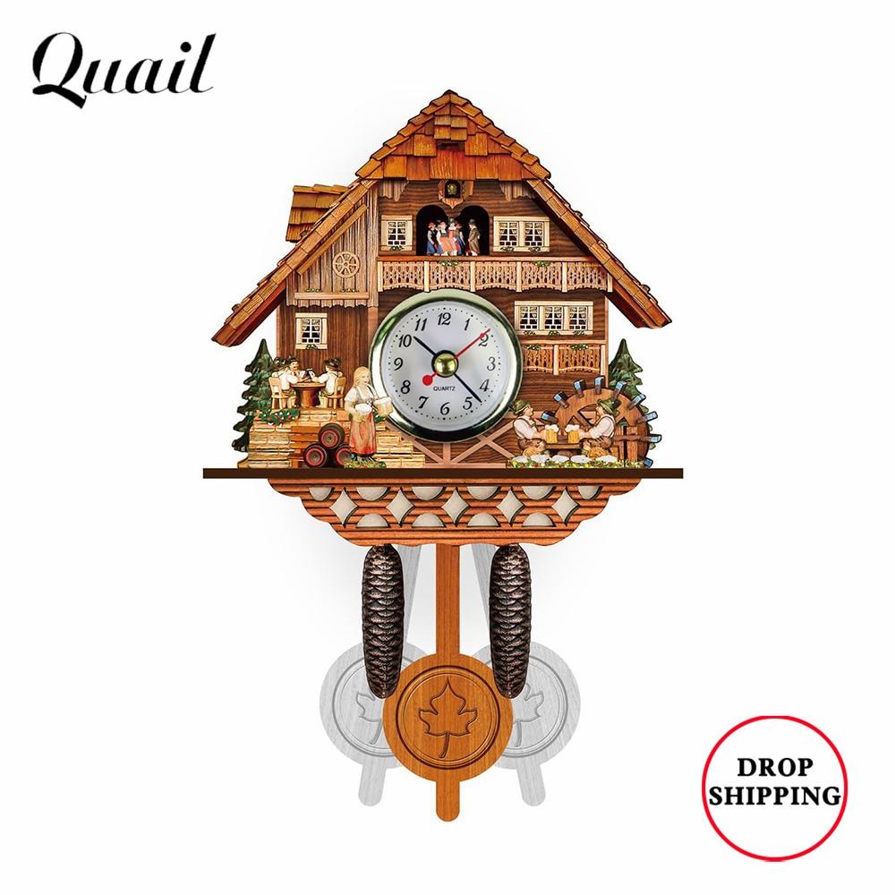 Wooden Cuckoo Clock Living Room Wall Clock Alarm Clock Wall Watch Retro German Black Forest Decorati