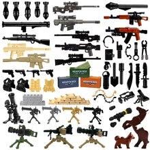 벽돌 군사 무기 팩 총시 경찰 Swat 팀 군인 액세서리 기본 상자 그림 장난감 WW2 육군 빌딩 블록