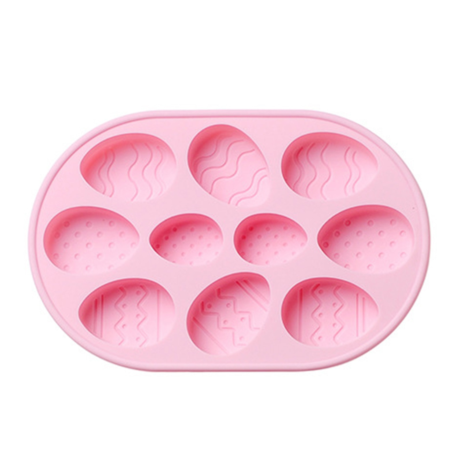 10 Cells Easter Egg Cake Mold with 2 Different Size Holes Silicone Multifunctional Baking Pan for Soap Candle Cookies HK