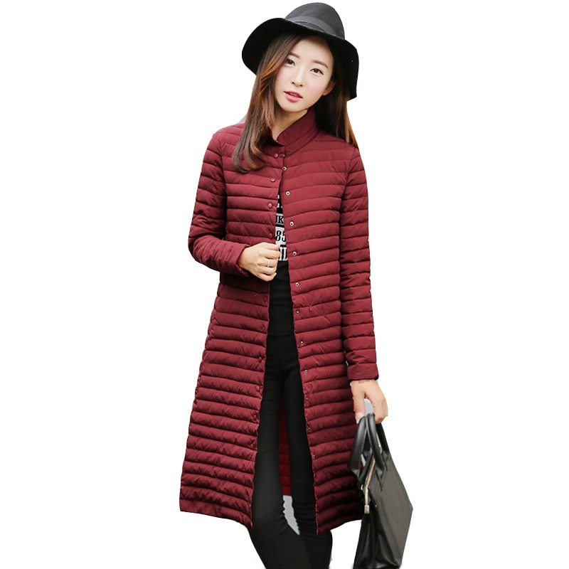 2020 Autumn and Winter New Fashion Women's Long Warm Windbreaker Pure Color Slim Cotton