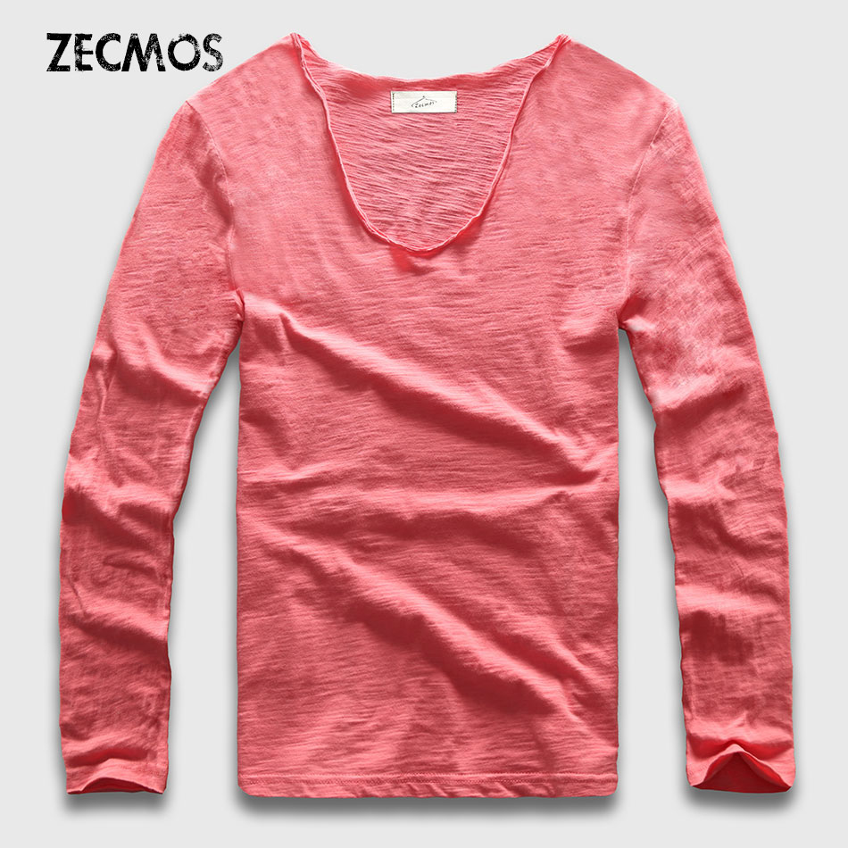 20 Colors V Neck Long Sleeve T Shirt Men Cotton T-Shirt Male Slim Fit Top Tees Casual Loose zecmos men t shirts long sleeve male v neck t shirt for men vneck tee male tshirts slim fit top tees swag wide low neck