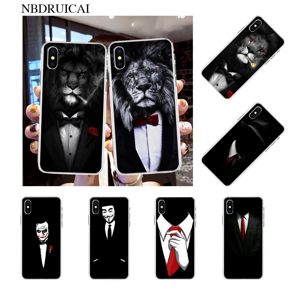 Carcasa NBDRUICAI de camisa y corbata para hombre, carcasa negra suave para iPhone 11 pro XS MAX 8 7 6 6S Plus X 5S SE XR