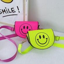 Candy Color Children's Mini Shoulder Crossbody Bag Cartoon Smile Face Baby Girl Small Coin Purse Han