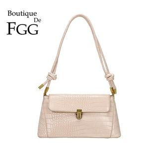 Boutique De FGG ALLIGATOR Crocodile Pattern Women Fashion PU Shoulder Bags Small Baguette Crossbody Handbags and Purses