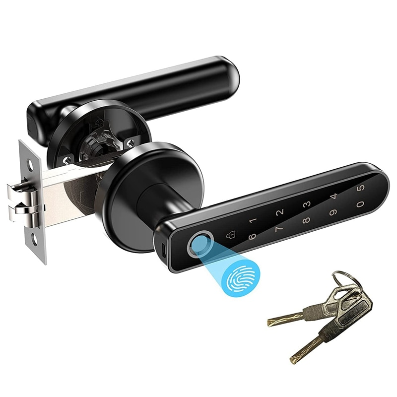 قفل نظام قفل الباب ببصمة الإصبع ، دخول بدون مفتاح قفل الباب مع مقبض ، رموز المرور ، بصمة ، ومفاتيح فتح ، سهلة التركيب