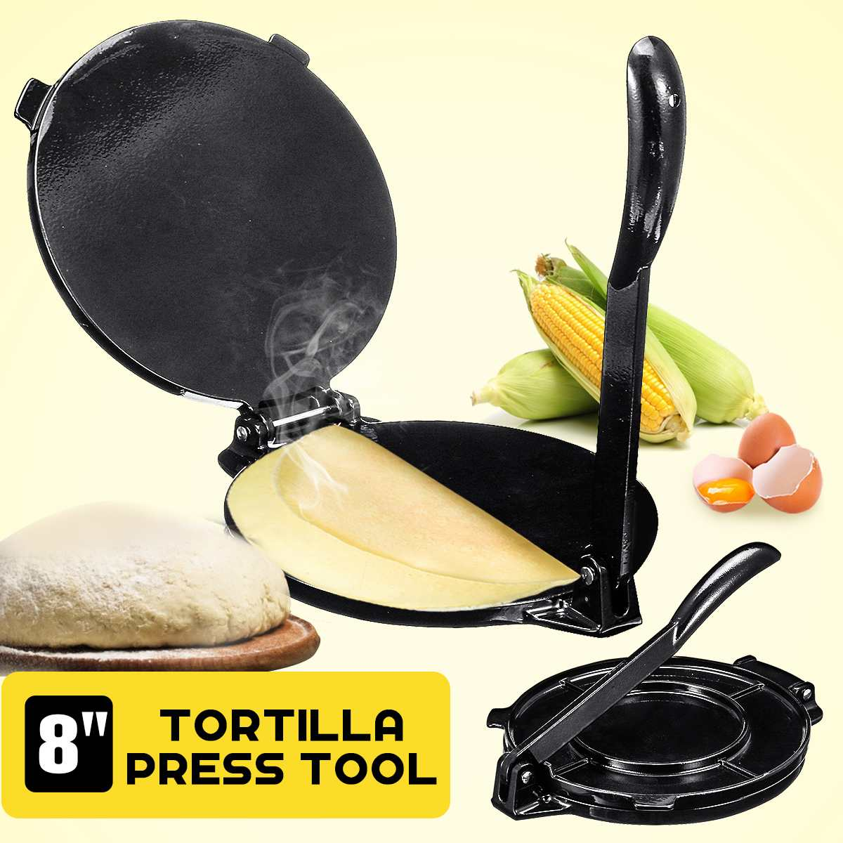 India-roti-chapati-prensa-Pita-Quesadilla-paaconera-Empanada-máquina de Tortilla-prensa-harina-pan plano-masa-prensador-