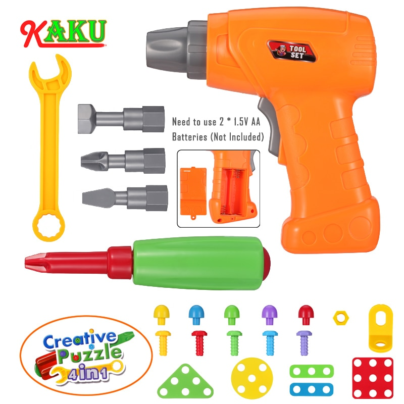DIY игрушки для детей/мальчиков/девочек/детские электрические сверла винт гайка разборка творческие головоломки игрушки аксессуары детские...