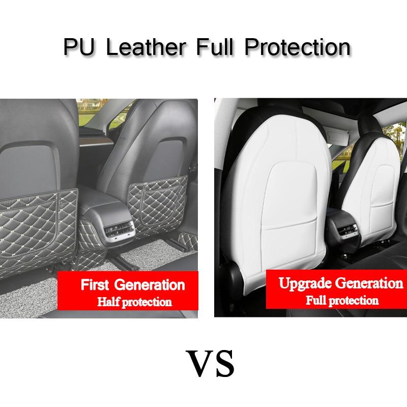 2PCS PU Leather Anti-Child-Kick Pad For Tesla Model 3 2019 2020 2021 Car Seat Back Cover Protector Kick Clean Mat Pad enlarge