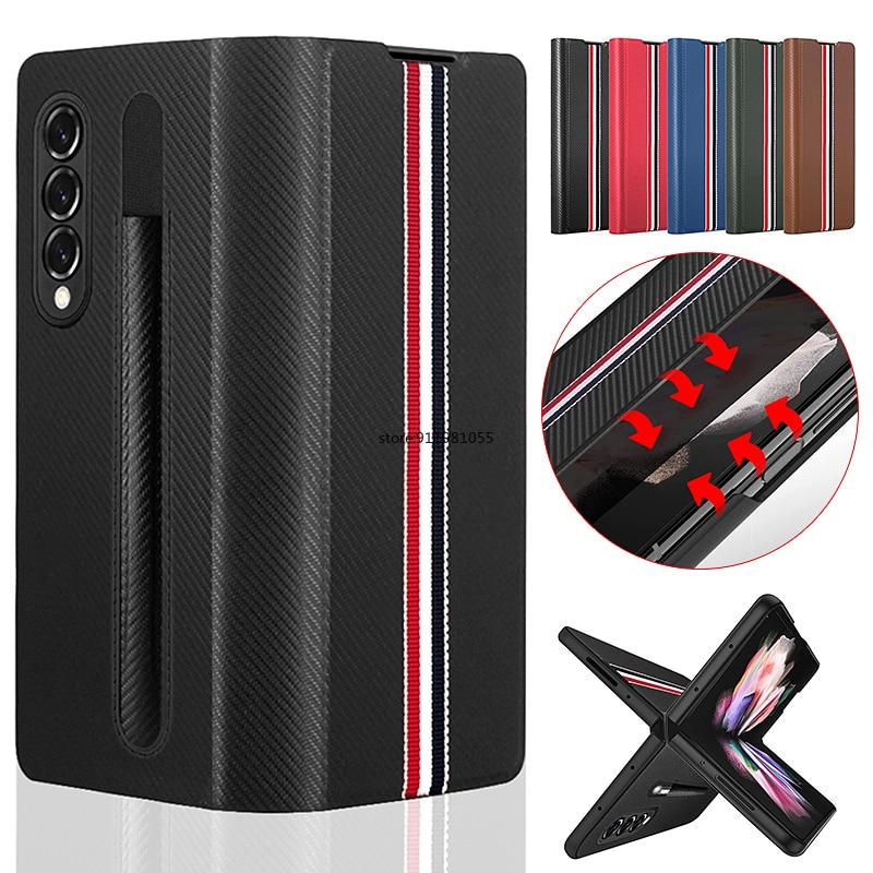 ل غالاكسي Z Fold3 5G S-Pen فتحة المقبس قضية الهاتف لسامسونج Z أضعاف 3 الترا سليم جلدية غطاء الهاتف مع حامل الجيب