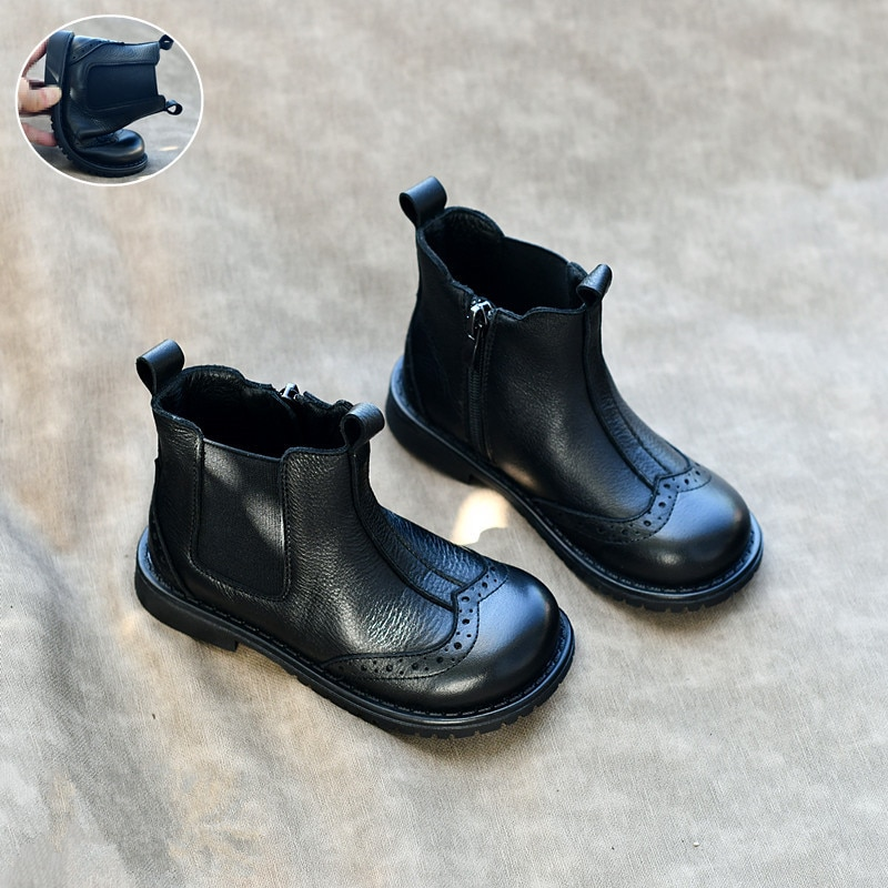 الخريف والشتاء الأطفال الأحذية جلد طبيعي الفتيان مارتن الأحذية الفتيات أحذية بوت قصيرة لينة جلد البقر الاطفال أحذية 7T 8T