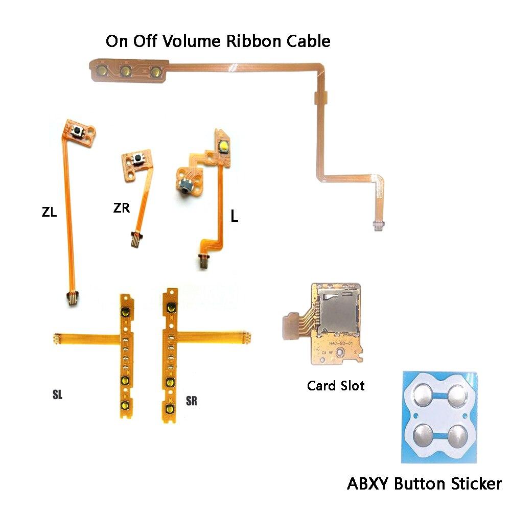 ZR ZL L SL SR/On Off Cable de cinta del volumen/ranura para tarjeta/ABXY botones pegatina cinta para tecla Cable flexible para cable de reparación NS/n-switch