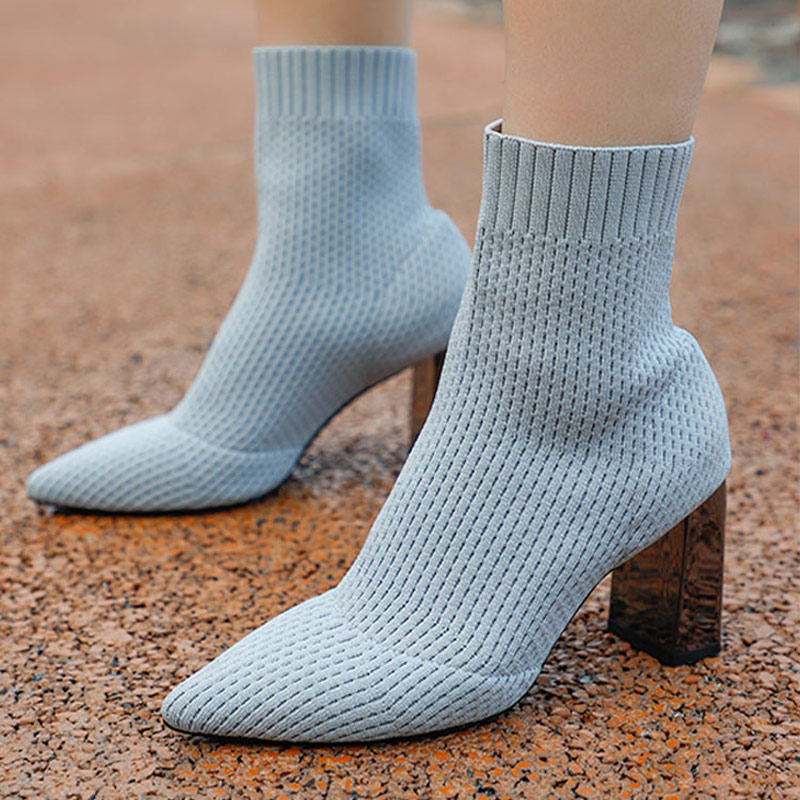 Women Boots Autumn Sexy Pointed Toe Ladies Mid-calf Boots Comfort Stretch Fabric High Heels Boots 2021 Fashion Sock Female Shoes brand women boots pointed toe flat shoes autumn winter purple blue orange boots short ladies western mid calf boots for women
