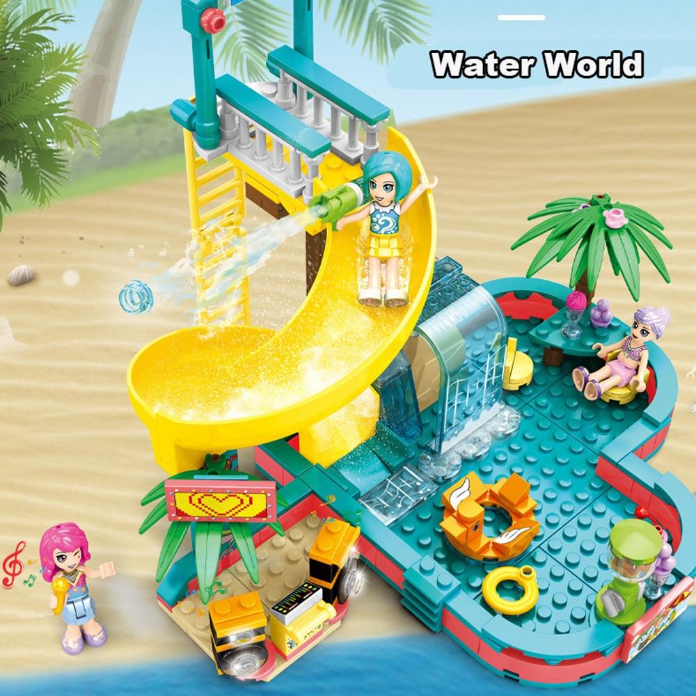 Sy6574 amigos cidade piscina água parque blocos de construção brinquedos meninas amigo casa diy tijolos brinquedos para crianças presentes aniversário