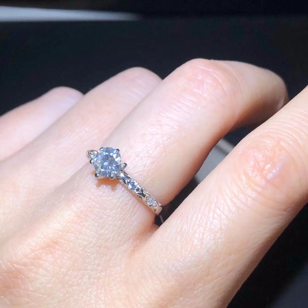 Anillo de moissanita crujiente para mujer, joyería de plata, regalo de cumpleaños, anillo de compromiso, regalo, joyería fina, anillo fino brillante, gran venta