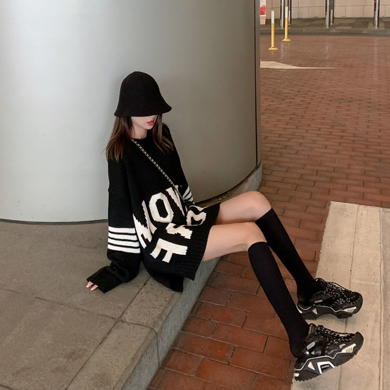 Autumn and winter medium length large size sweater women's 2021 new Hong Kong Style lazy loose contrast letter Pullover fashion enlarge