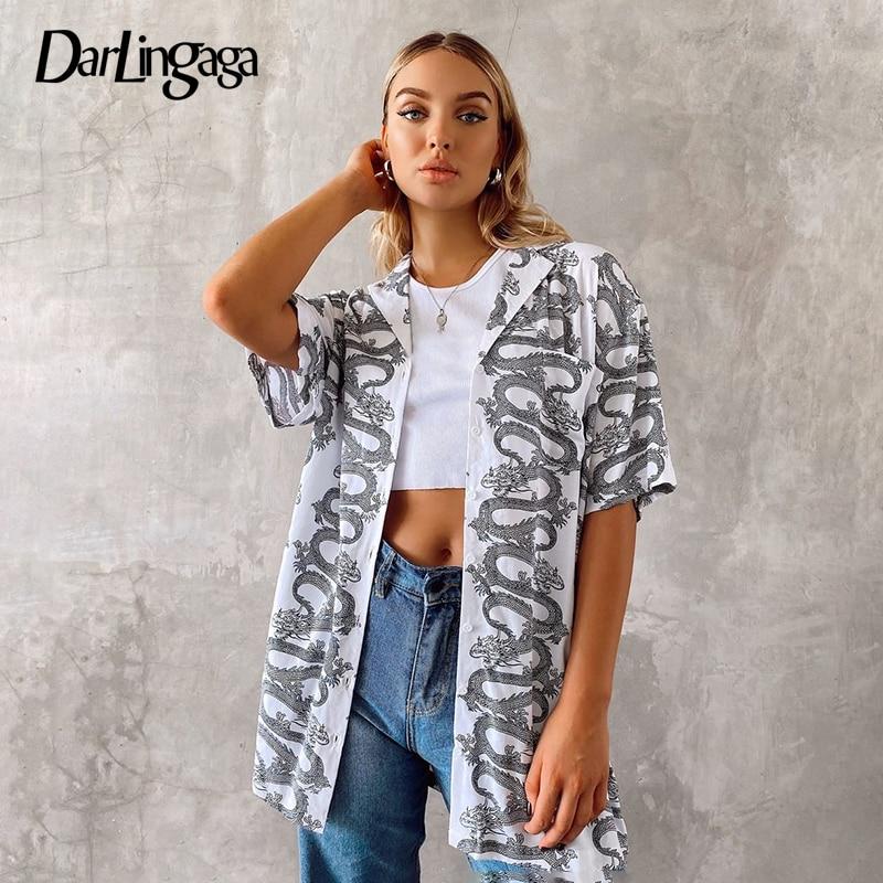 Darlingaga, estampado de dragón de estilo chino, blusa larga de verano, camisa, cárdigan de moda, Tops para mujer, ropa de calle, blusas de mujer, ropa