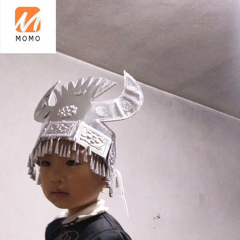 Factory Chinese miao ethnic alloy plated silver  Hmong Headwear hair accessory Hat