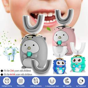 Cartoon Silicone Smart 360 Degrees U Shape Electric Toothbrush Automatic Ultrasonic Tooth Brush For 2-14 Years Old Kids