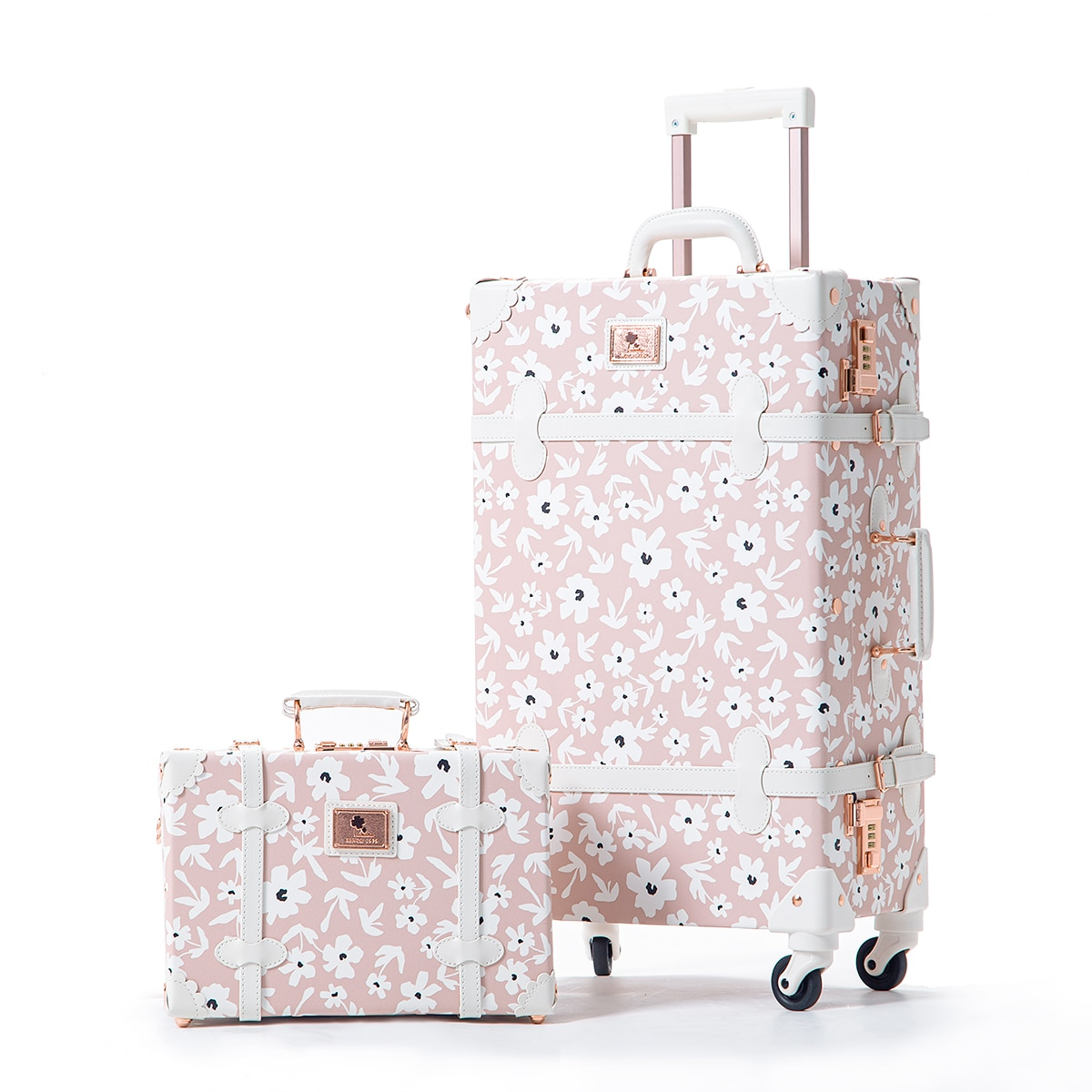UNIWALKER 2 Piece Vintage Luggage Set 20-26inch Carry on Women Suitcase with 12inch Cosmetic Train Case