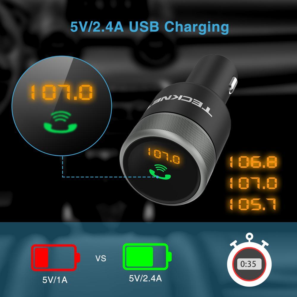 TeckNet 5 V/a 2 puertos USB cargador de coche con manos libres inalámbrico Bluetooth transmisor FM Radio en- adaptador de coche para iPhone Samsung