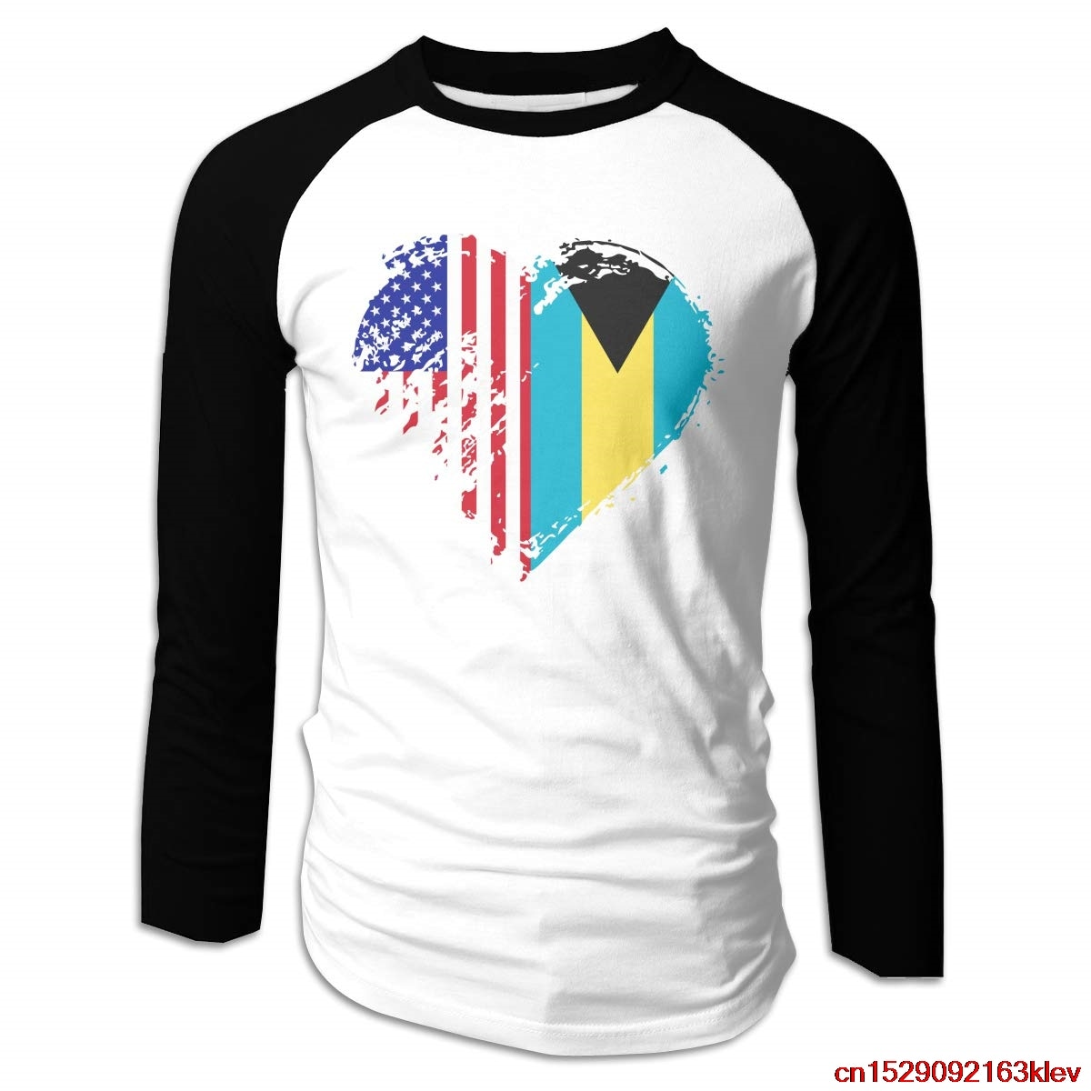 FGHFG Grungy Bahamas American Flag Heart Long Sleeve Baseball Tee for Men,Cotton Raglan Jersey Shirt Unisex men women t shirt