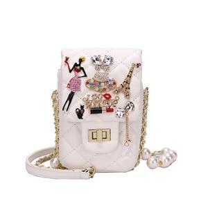 2021 New Small Mobile Phone Bag Mini Pu Leather Brand Rhombus Shoulder Bag And Purse Luxury Women's Diagonal Cross Body Bags