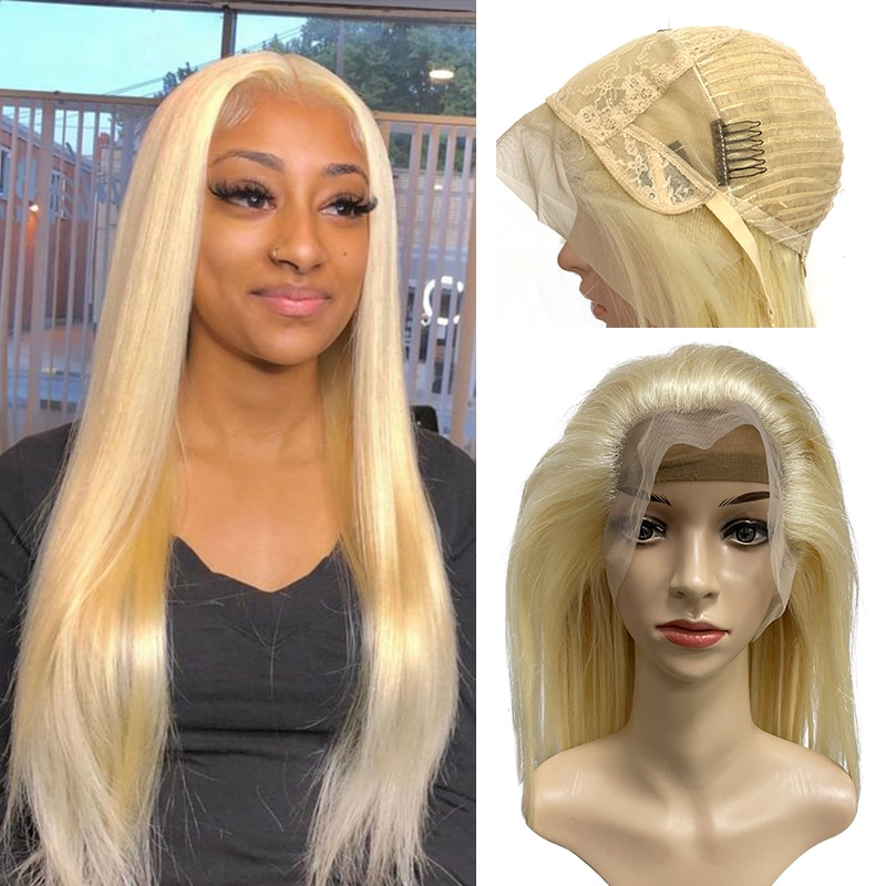 613 Blond Straight 13x6 Lace Closure Wig Women Brazilian Remy Human Hair Wigs 13x4 Lace Frontal Wig Pre-plucked Natural Hairline