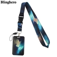 cb431 starry sky art lanyard card holder student hanging neck phone lanyard badge subway access card holder office accessories