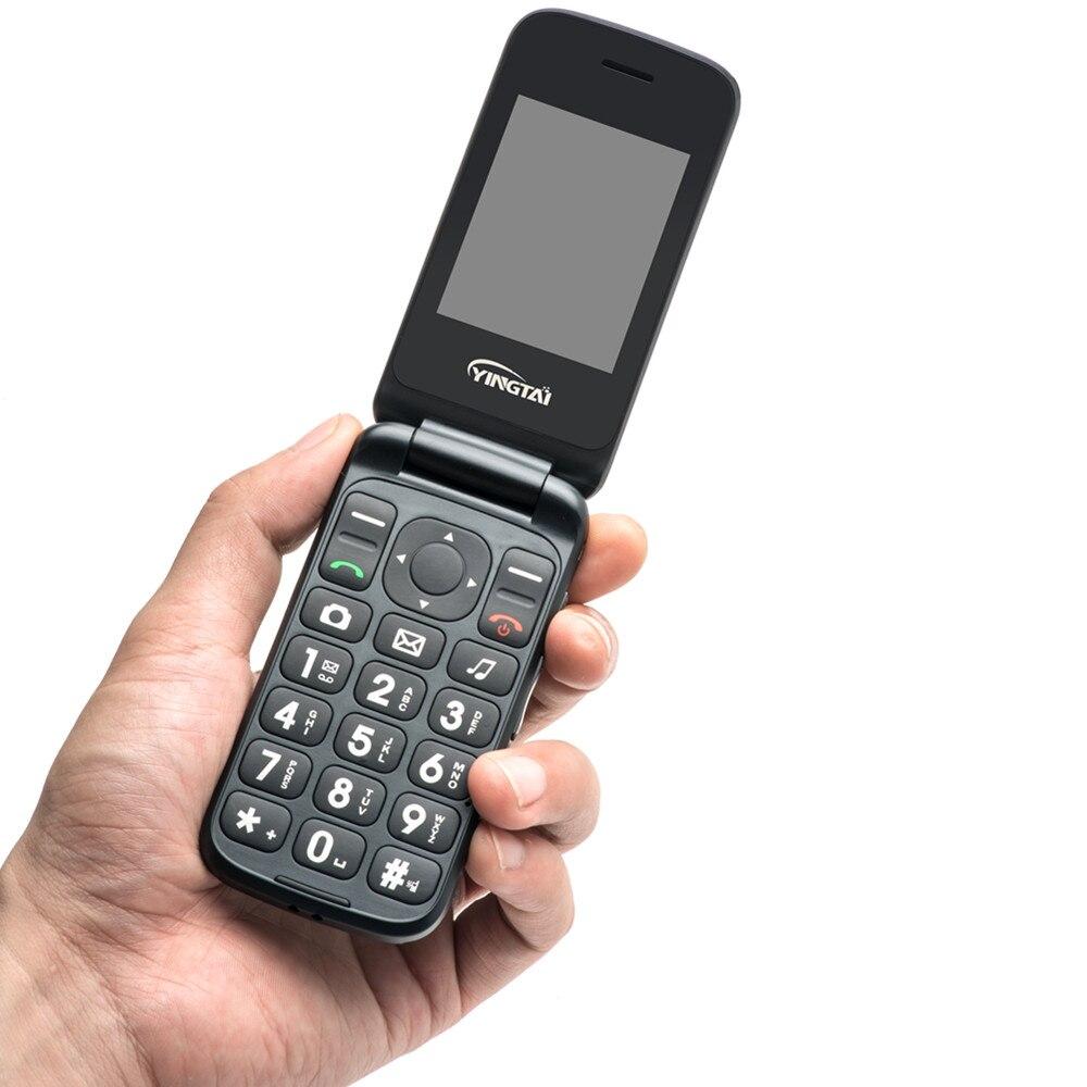 YINGTAI T22 2G GPRS MMS زر ضغط كبير هواتف بأزرار كبيرة المزدوج سيم شاشة مزدوجة SOS الوجه الهاتف المحمول للمسنين مفتاح واحد مكالمة الطوارئ