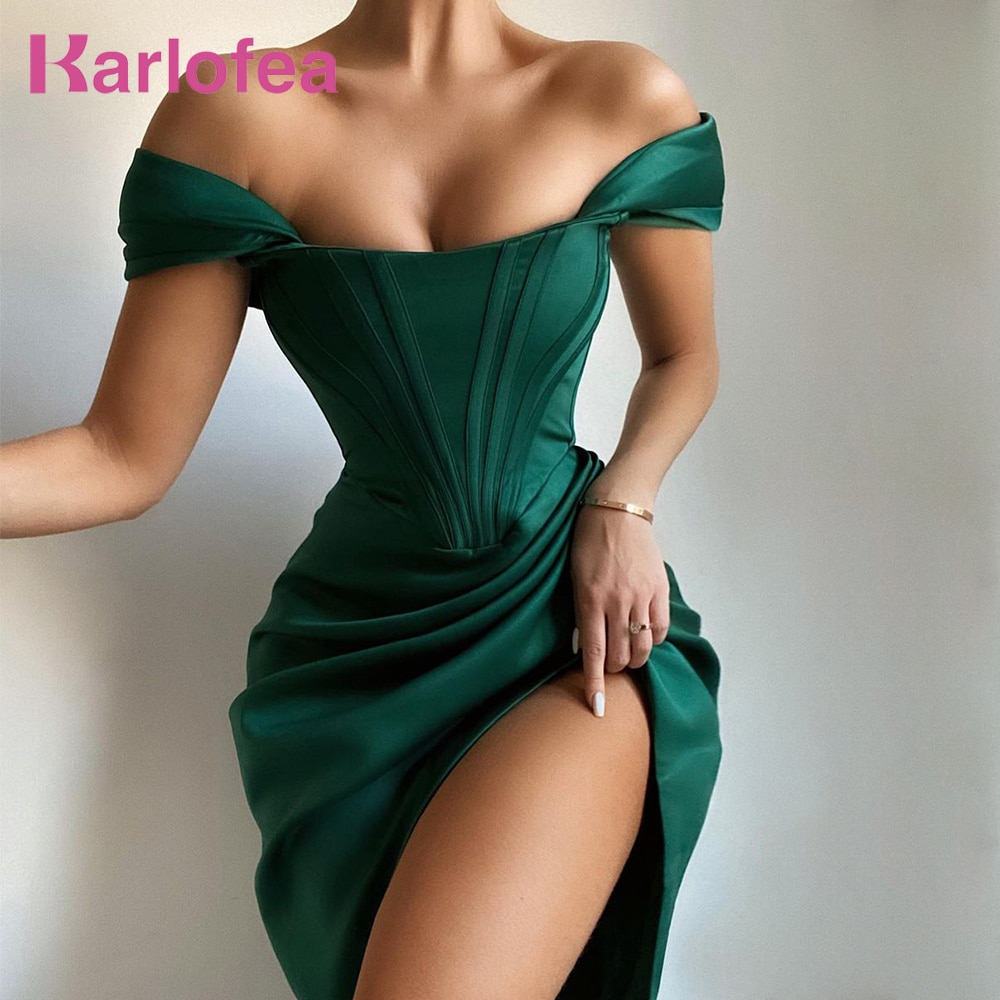 Karlofea-فستان مثير من الساتان ، فستان سهرة ، أكتاف عارية ، مشد ، فستان ميدي ، أحمر