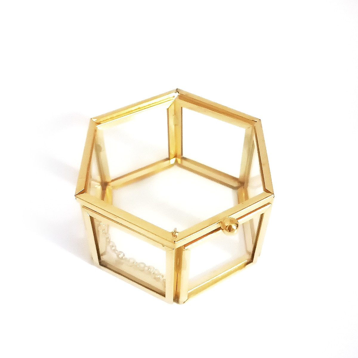 Empty Geometric Glass Treasure Box Engagement Ring Box Gold Rustic Jewelry Box Wedding Gift