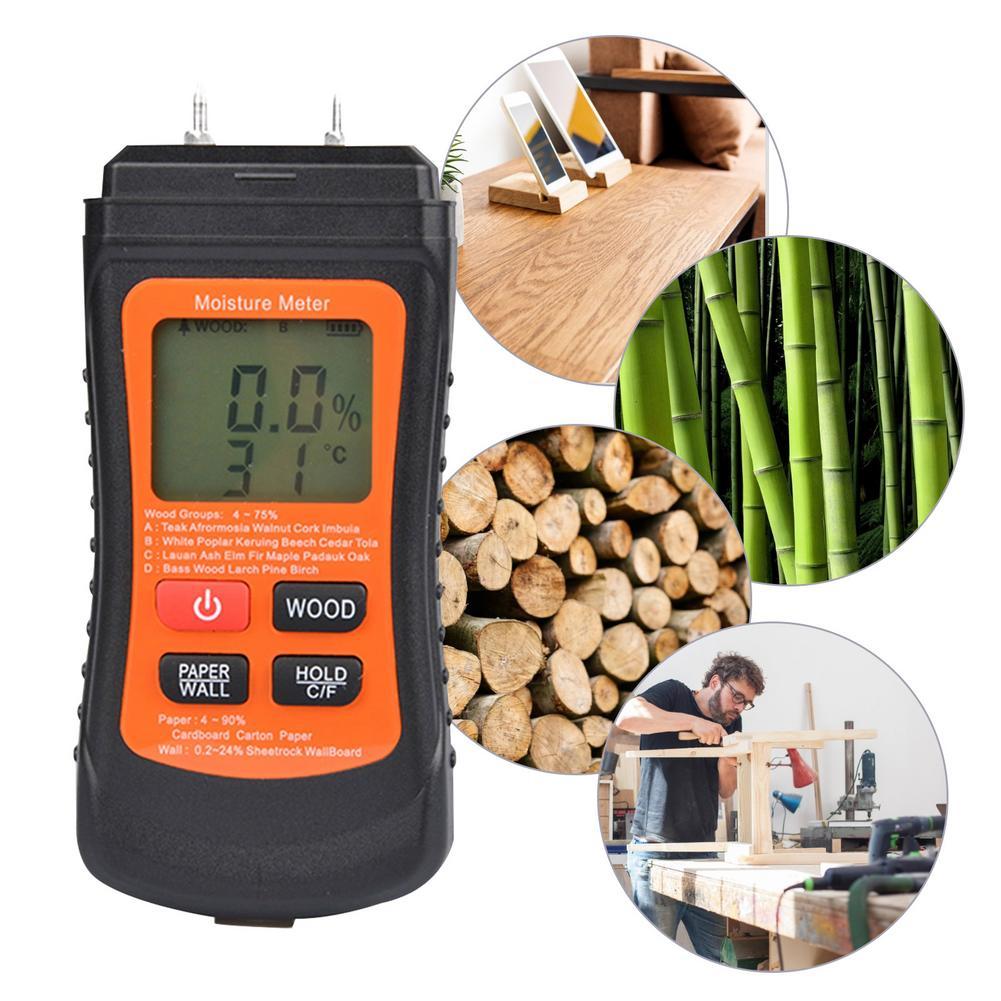 Hygrometer Two Pins Digital Wood Moisture Meter Digital Display With LCD Display Backlight Moisture Tester Wood Humidity Tester digital wood moisture meter 7 categories of material moisture detection with lcd display backlight wood working tester