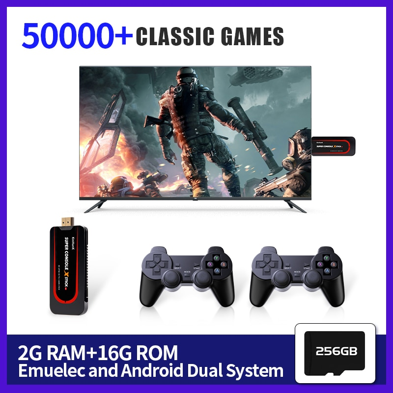Retro Video Game Console TV Box Super Console X Stick Built-in 50000+Games For PS1/N64/DC/SNES Portable Game Player 2 Controller