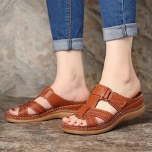 Litthing summer female sandals car line wear-resistant anti-slip retro wedge thick bottom comfortable Women sandals Slippers