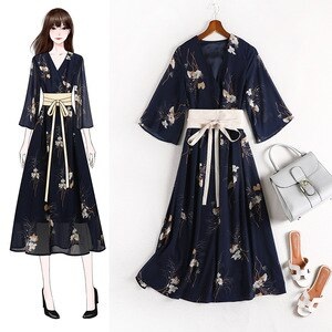large size women's party women national style floral modified Hanfu 2020 Summer fat mmv collar dress vestido dresses 10580
