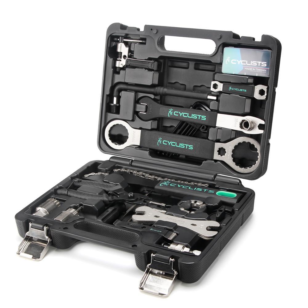 Professional Bicycle Repair Tools 18 In 1 Cycling Multitool Chain Pedal Bb Wrench Hex Key Bike Tools Kit Box Set Bike Repair Kit