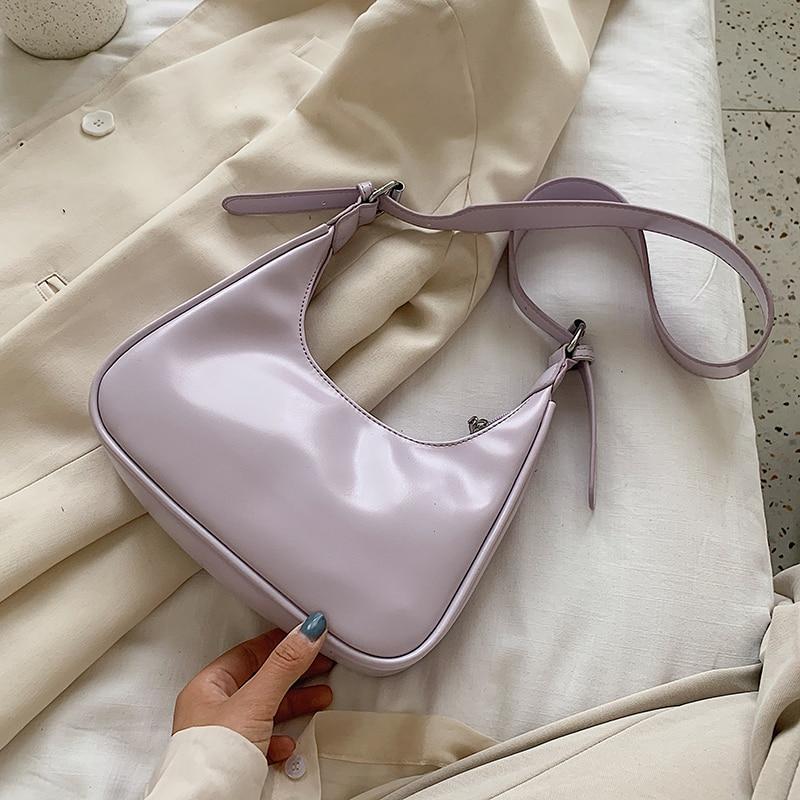 Half Moon Design Small PU Leather Crossbody Bags For Women 2020 Summer Female Elegant Solid Color Simple Shoulder Handbags