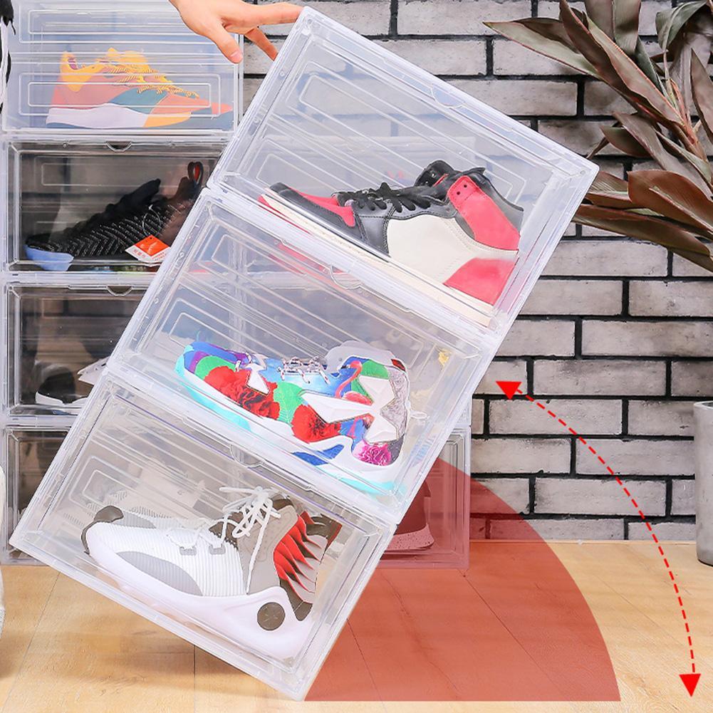Caja de plástico para zapatos, organizador apilable y magnético para almacenamiento de...