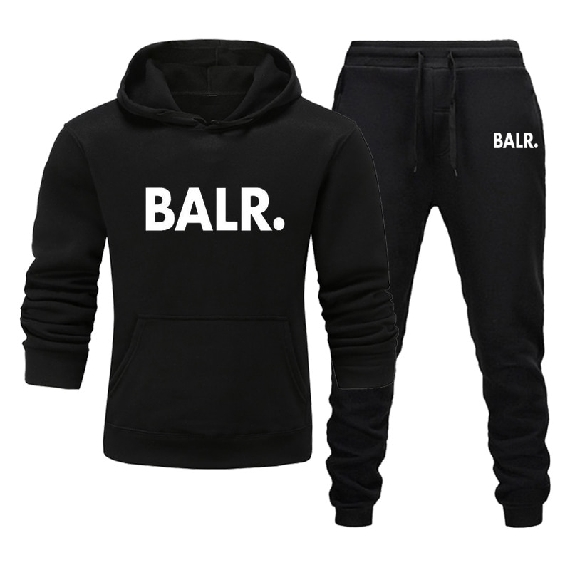 Sports Fitness BALR Men Women Set Hoodies+Pants 2 Pieces Sets Autumn Winter Hooded Tracksuit Male Sportswear Gym Sudadera Hombre