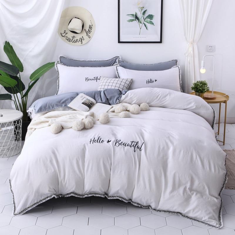 Bordado 3/4 Uds juego de cama Hello hermosa funda de edredón funda de almohada sábana de cama doble tamaño Queen lavado algodón ropa de cama