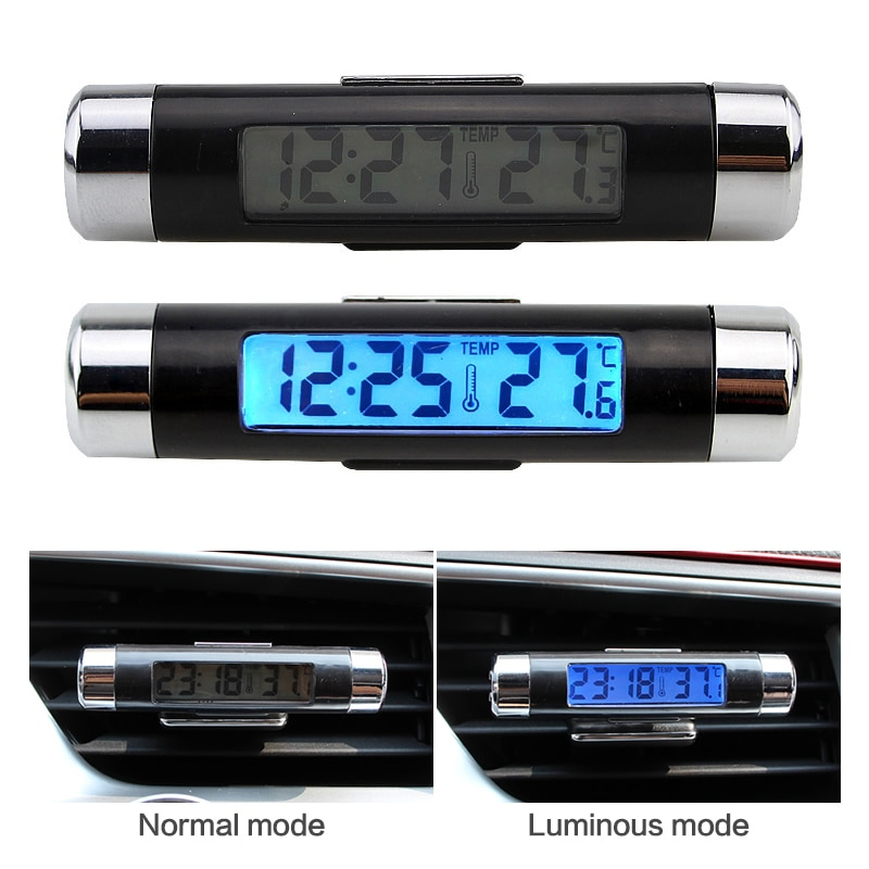 1pcs Portable 2 In 1 Car Digital Clock & Temperature Display Electronic Clock Thermometer Car Automotive Blue With Clip