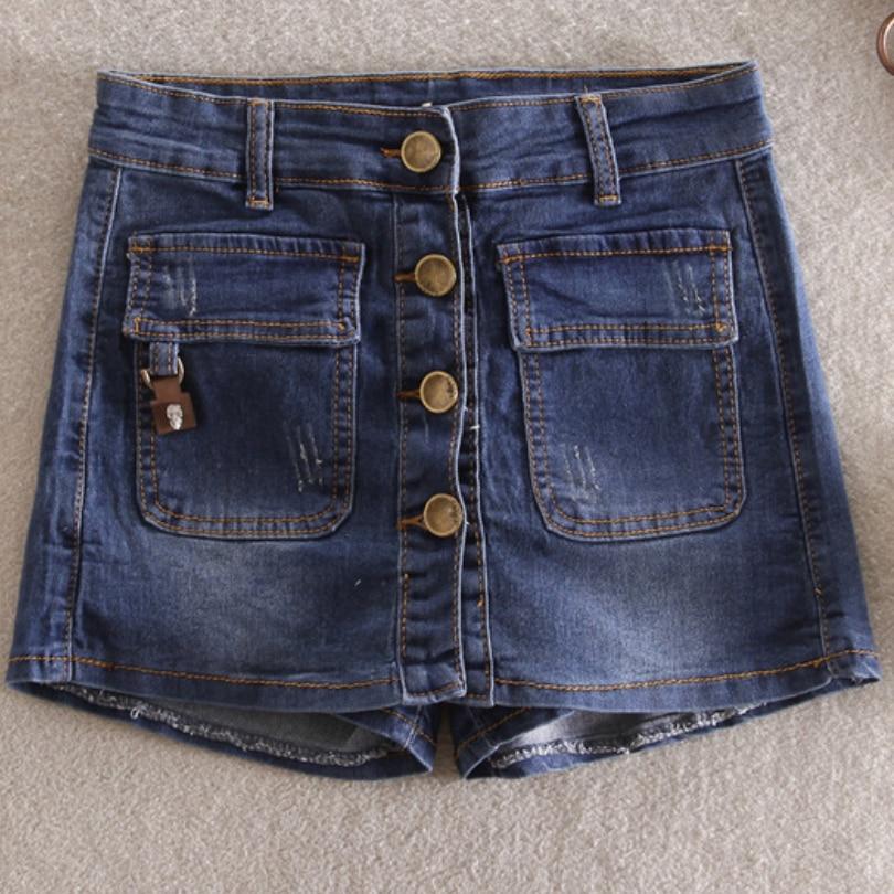 Moda verano Mujer Jeans Shorts cintura alta pantalones cortos faldas Casual Shorts Jeans Feminino Pantalón corto de pierna ancha