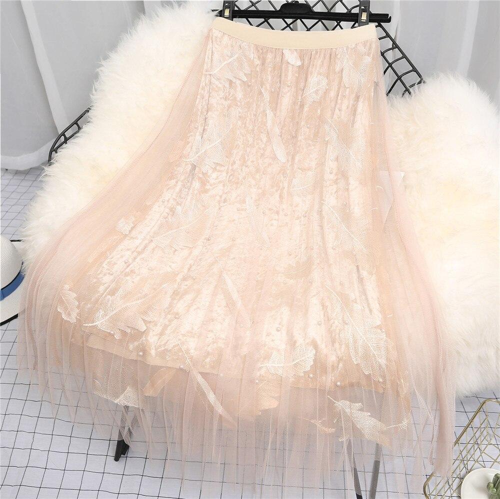 Summer Ladie Sexy Long Pleated High Waist Skirts Boho Sweet Cute Party Elegant Vintage Lace Mesh Print Midi Women Clothing