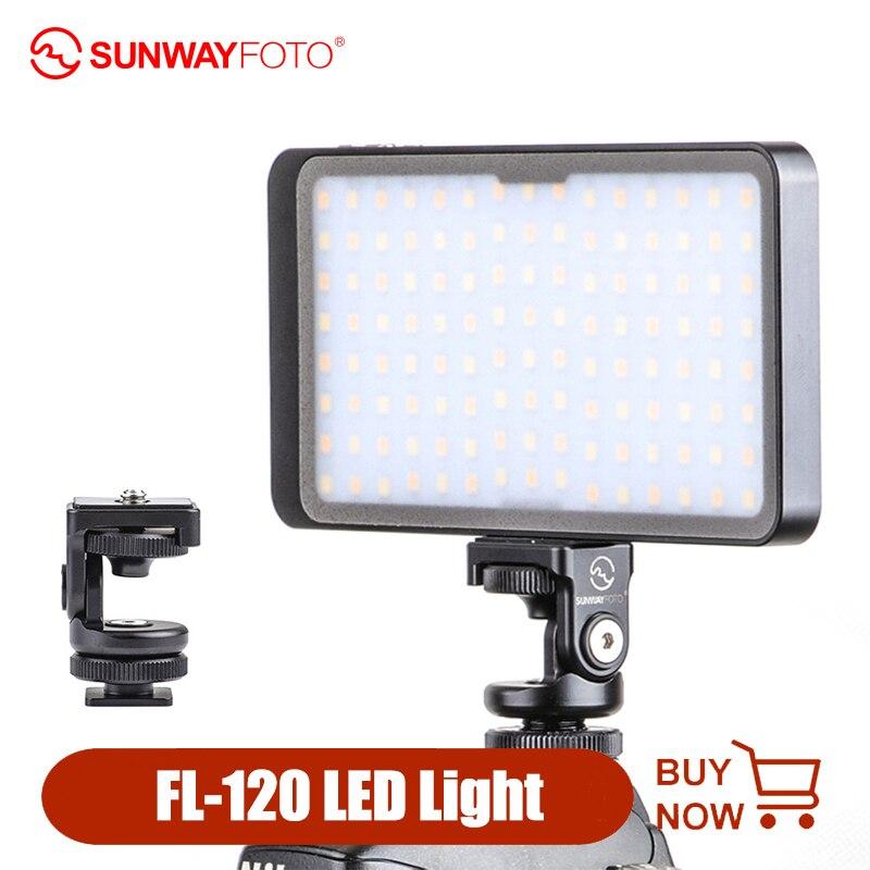 SUNWAYFOTO FL-120 светодиодный светильник для видеосъемки с регулируемой яркостью светильник ing On camera заполняющий светильник для DSLR Nikon Canon