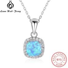 Classique carré blanc bleu opale colliers et pendentifs zircon cubique 925 en argent Sterling collier cadeau pour les femmes (Lam Hub Fong)