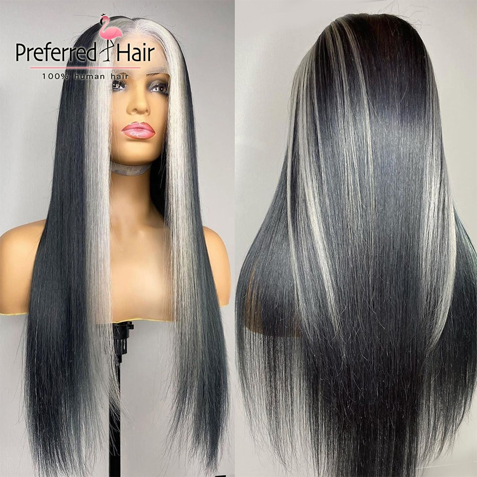 Preferred Ash Blonde Stgraight Highlight Wig Brazilian Remy Pre Plucked 13x6 Lace Front Wig Transparent Lace Wigs for Women