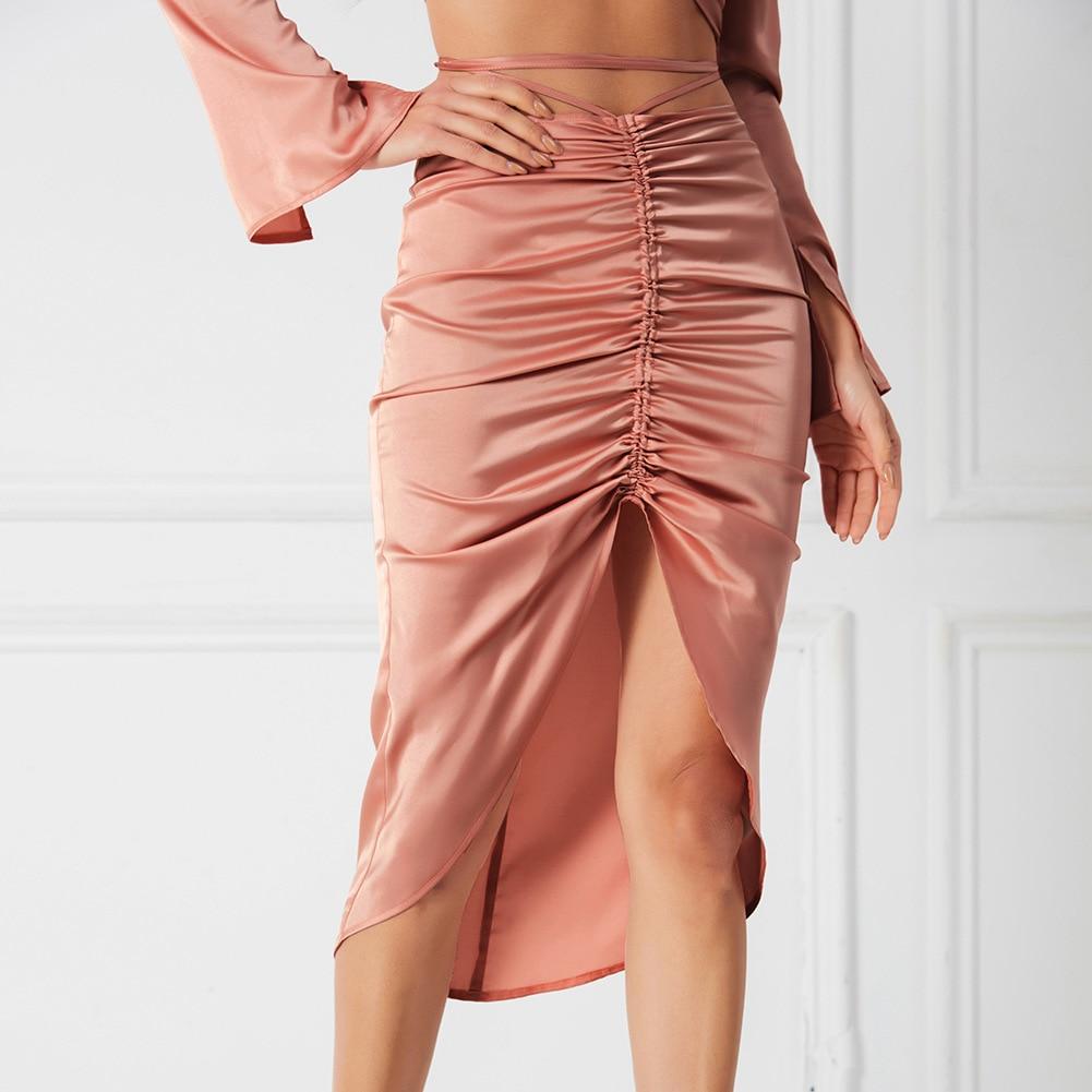 elegant high waisted solid color midi skirt for women Women's High-waisted Midi Skirt Female Clothing Summer Fashion Sexy Solid Color Irregular Woman Satin Folds Split Skirt